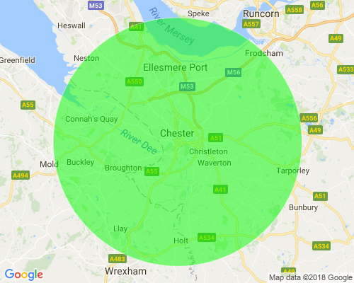 Map showing area served by Chester Landscape Company.