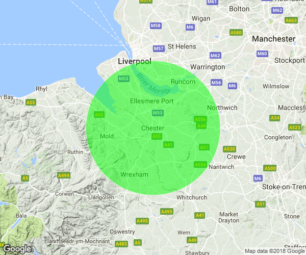 A map of the 15 miles around chester where we deliver firewood.